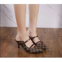 Sandal sendal high heels wanita AB11 coklat tingi 7cm murah