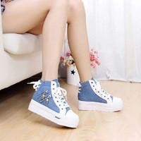 Sepatu boot sepatu boots wanita Wedges MD55 biru muda sport casual