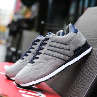 Sepatu Sneakers Pria Bahan Kulit PU Warna Hitam untuk Olahraga /