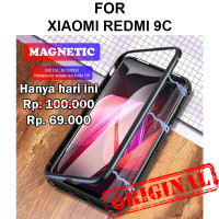 Case Xiaomi Redmi 9C casing tempered glass cover kaca bumper MAGNETIC