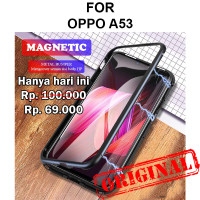 Case Oppo A53 casing tempered glass cover kaca metal bumper MAGNETIC