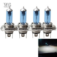 4pcs/set Bola Lampu Halogen 12v H4 P43T Warna Biru Untuk Depan Mobil