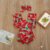 XZQ-New Kids Baby Girl Watermelon Printed Outfit Backless Romper L155