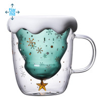 3D Transparent Double Glass ristmas Tree Starry Cup Coffee Cup