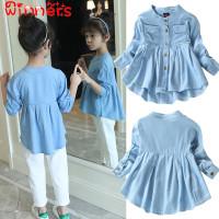 Dress Mini Jeans Casual Lengan Panjang Aksen Lace untuk Anak