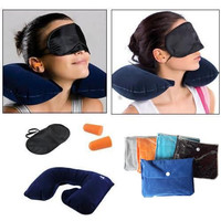 Bantal Leher + Tas cloth bag travel pillow set Inflatable