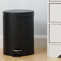 Tempat Sampah Bentuk Silinder Bahan Besi Warna Hitam Kapasitas 5