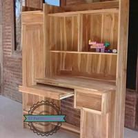 Meja belajar besar kayu jati mentahan model minimalis Murah