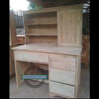 Meja belajar kayu jati model simpel minimalis mentahan Murah