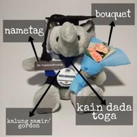 Boneka Wisuda Gajah | Boneka Wisuda Bandung Kode 1291