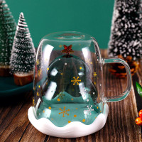 M8-Creative Double-Layer Glass Christmas Tree Star Water Cup High L161