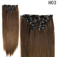 100% Natural Remy Clip in Hair Extensions 6 Pieces Full Head Real