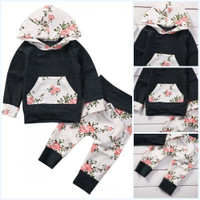 2Pcs Newborn Baby Boy Girl Kids Hooded TopsLong Pants Floral Outfit