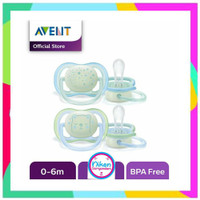 Empeng Bayi Avent Night Time Ultra Air Orthodontic Soother Pacifier 0-