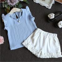 Summer ildren Girls Fashion Casual Pearl Sleeveless iffon Blouse