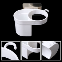 Plastic Sticky Hair Dryer Holder Rack Wall Adhesive Mount Bathroom