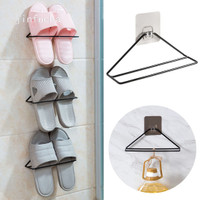 Wall Mounted Shoes Rack with Sticky Hanging Strips, Plastic Shoes