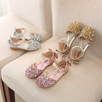 Girls Bling Bling Sandals Shoes Kids Baby Sequin Pearl Princess