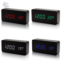 Wooden LED Alarm Clock with Temperature Sounds Control LED Display
