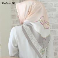 satin hijab Bunga/Kerudung/Jilbab/Segi Empat Pum/Square Motif L117