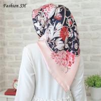 satin hijab Bunga/Kerudung/Jilbab/Segi Empat Pum/Square Motif L144
