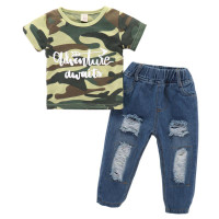 Kids Baby Boy Camouflage Top Hole Denim Pant Trousers Outfit Suits