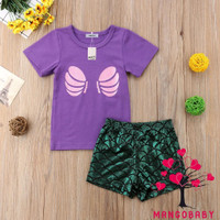 YG2-2Pcs Baby Girl Kids Summer Toddler Outfit