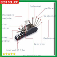 2 Multifunctional 15 in 1 EDC Repair Tool Stainless Steel kunci Obeng