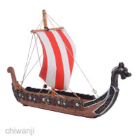 Ornamen Miniatur Kapal Layar Naga Viking Bahan Resin Untuk Dekorasi