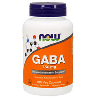 NOW FOODS GABA 750 MG 100 VEG CAPSULES
