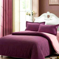 HX659 Ellenov Sprei With Bed Cover Katun Prada Polos Warna Ungu Baby P