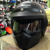 Helm Retro Carglos + Kacamata Masker # cakil bogo ink kyt cross anak
