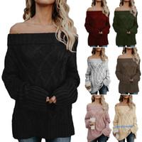 ✿ WA Sweater Rajut Longgar Off Shoulder Sabrina Lengan Panjang