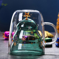 ristmas Tree Event Cup Star Water Double-Layer Glass Mugs for
