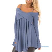 ✿ WA Sweater Rajut Wanita Off Shoulder Sabrina Lengan Panjang