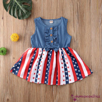 Dress Denim Casual Tanpa Lengan Bayi/Anak Perempuan 1-4 Tahun Print