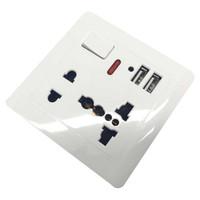 Stop Kontak Universal UK EU US 2 Port USB with On/Off Switch -BR19