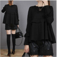 Plus Size Women Clothing Solid Color Loose Pullover Tops Long Sleeve