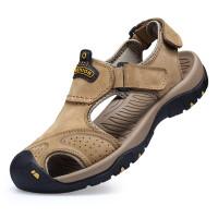 Menarik kembali sandal kulit pria sandal olahraga Baotou non-slip musi