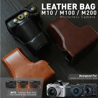 Unik Canon EOS M10 / M100 / M200 Leather Bag / Case / Tas Kulit Kamera