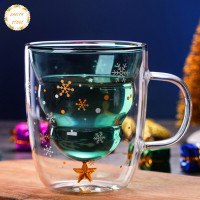 COD Christmas Tree Event Cup Star Water Double-Layer Glass Mugs f Y883