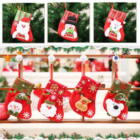 Q999 Kaos Kaki Gantung Motif Santa Claus untuk Dekorasi Natal /