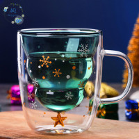 Christmas Tree Event Cup Star Water Double-Layer Glass Mugs for C M601