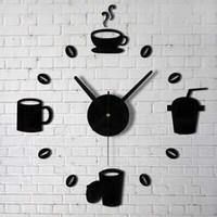 Jam Dinding Besar Unik Cangkir Kopi 40 -70 cm DIY-07