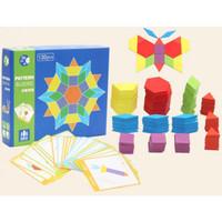 Blommie LKS Wooden pattern block - mainan kayu anak - puzzle kayu -