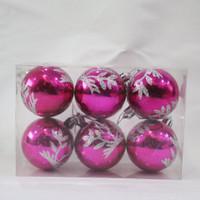 Bola Natal / Hiasan Gantung Motif Tanaman Glitter 5.5 Cm
