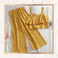 Dress Jumpsuit Set Wanita Sabrina Pesta Premium Polos Set Cewek - Mustard