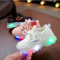 Baby Kids Shoes Breathable Anti-Slip LED Sneakers Striped Soft First