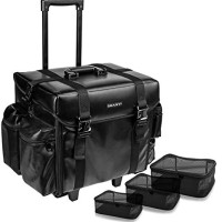 SHANY Makeup Artist Soft Rolling Trolley Cosmetic Case with Free Set o