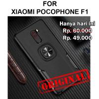 Leather iring case Xiaomi Pocophone F1 softcase casing cover tpu ring - Hitam